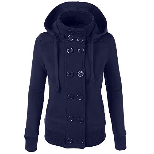 OverDose Damen Mode-Sport-Art-Frauen-Winter-warme Zweireiher mit Kapuze Lange dünne beiläufige Jacken-Mantel Outwear Wärmemantel-beiläufige Jacke(Blau,EU-38/CN-XL)