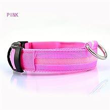 Etelux Collar de seguridad para perros Luz LED Intermitente de Carga Llumina el Collar Collares LED para Perros Brillantes de Seguridad LED 3 Modo 7 Colores