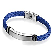 Flongo Free Engraving Men's Women Silver Tone Stainless Steel Blue Braided Leather Cuff Bracelet Bangle, 8.66 inch