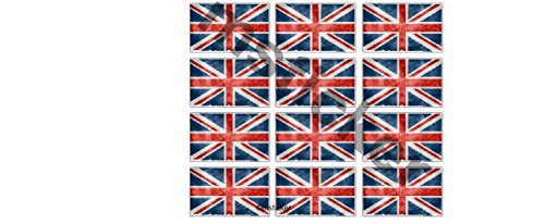 12 kleine Aufkleber distressed aged UK Flag Fahne Union Jack Aufkleber Sticker + Gratis Schlüsselringanhänger aus Kokosnuss-Schale + Auto Motorrad Laptop Tuning Racing Hoonigan Motorsport Ken Block (Union Boot-pro)