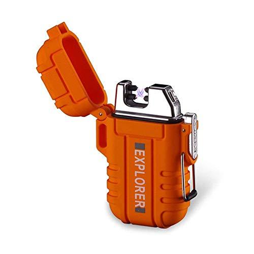 ENW Wasserdichtes USB Elektronisches Feuerzeug, Zigarettenfeuerzeug mit Kreuz Doppel Lichtbogen (Orange)
