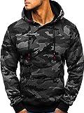 BOLF Herren Kapuzenpullover Sweatshirt Hoodie Army Camo Military Style J.Style TR15 Dunkelgrau XL [1A1]