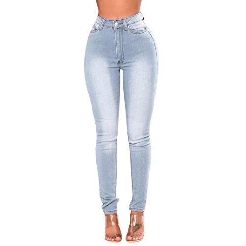 Ularma Damen Blau Grau Denim Jeanshose High-Waist Bleistift Röhrenjeans Straight Jeans (Hellblau, XL)
