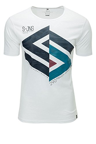Smith & Jones Herren T-Shirt Print-Shirt Shortsleeve White