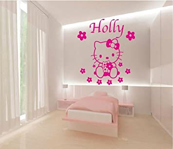 PERSONALISED HELLO KITTY NAME U0026 FLOWER DESIGN VINYL WALL ART STICKER,GIRLS  BEDROOM ,WALL MURAL,28 DIFFERENT COLOURS (MASSIVE)1000mm X 950mm (PINK)  GVWAHK1: ... Part 51