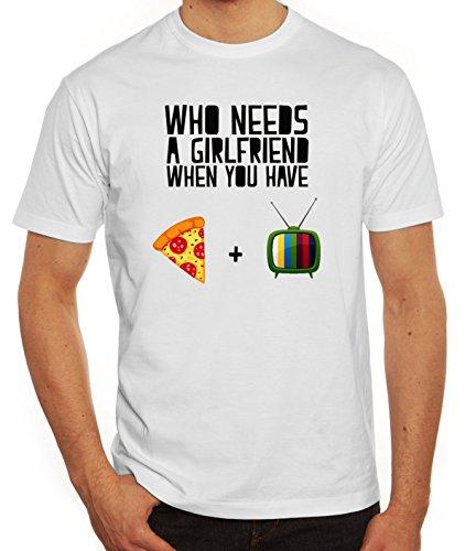 Valentinstag Herren T-Shirt mit Who Needs A Girlfriend Motiv von ShirtStreet Weiß