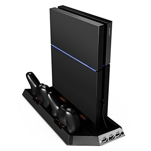 Sminiker Playstation 4 Stand With Cooling Fan Dual Charging Station For Ps 4 Controllers, With Dual Usb Hub Charger Ports Charging Station For Ps4 Games 1 Pcs