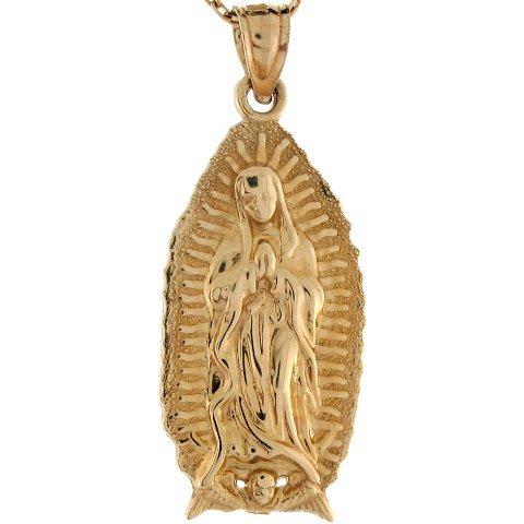 10K oro giallo Bella Vergine Madre Maria Lady Guadalupe Ciondolo