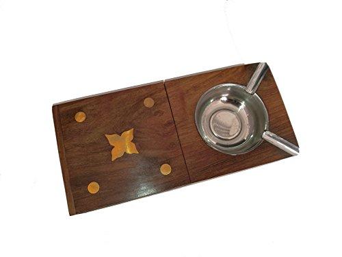 Madera Cenicero | hecha a mano | con caja de cigarrillos abatible | de la India | 2Ranuras | decorativa adornado