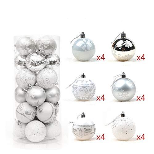 dDanke 24 Stück Weihnachtskugeln Box Christbaumschmuck aus Kunststoff bis 6 cm Glänzend Glitzernd Weihnachten Deko Anhänger (Silber) (Silver Lake Halloween-partys)
