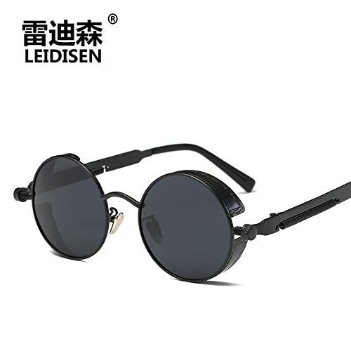 Sonnenbrille Für Männer Und Frauen High-End Fashion Runde Polarisiert Treiber Retro Punk Sonnenbrille Für Outdoor Reisen Sommer Sport Winddicht Uv400 Schwarz, Grau