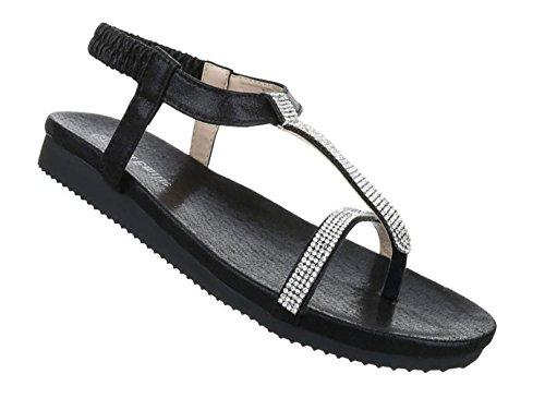Damen Sandalen Schuhe Sommerschuhe Strandschuhe Zehentrenner Schwarz Pink 36 37 38 39 40 41 Schwarz