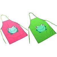 2piece Los niños impermeable delantal con rana de dibujos animados Impreso para pintura cocina (verde + rosa)