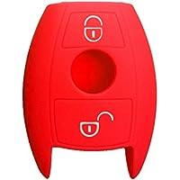 Nicky Rojo Funda de Silicona para Mercedes Benz 2 Botones Llave (Keyless Go solamente) Cubierta de Control Remoto Automático