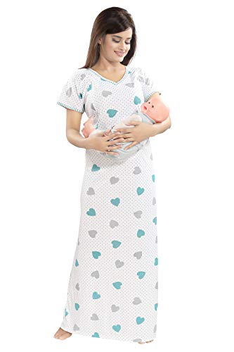 TUCUTE Women's Beautiful Print with Invisible Zip Feeding/Maternity/Nursing Nighty/Nightwear. (Green-2438)