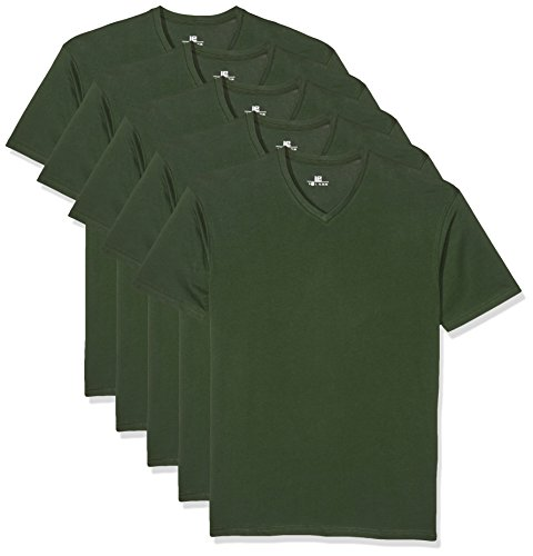 Lower East Herren T-Shirt mit V-Ausschnitt, 5er Pack, Grün (Dunkelgrün), Large