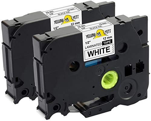 Yellow Yeti 2 Cassette Nastri Laminati TZe-231 TZ-231 nero su bianco 12mm x 8m Etichette compatibili per Etichettatrici Brother P-Touch PT-1000 PT-H100R PT-H100LB PT-H107B PT-H110 PT-D400 PT-D600VP