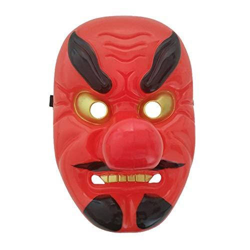 Rote Kunststoff Tengu Lange Nase Maske Horror japanische Krieger Maske Halloween Festliche Urlaub Cosplay Maske Kit Party Supplies - rot (Comic Con Kostüm Lustig)