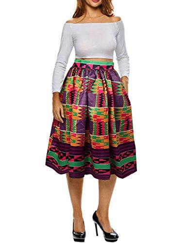 Uideazone Frauen Vintage Retro African Midi Röcke High Waisted A-Line Plus Größe (Vintage-rock Größe Plus)
