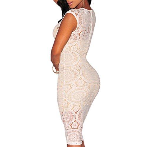 ABILIO - vestito donna nero tubino pizzo elegante abito bianco cerimonia vestitino festa Bianco