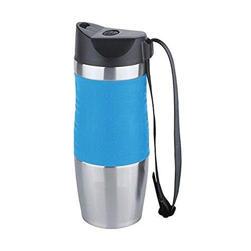 Vakuum-isolierte Reise-Kaffeetasse, Edelstahl, 100% Dichtheitsprüfung BPA-frei, hält heiß und kalte Getränke, einhändig offen, 380 ml / 13 Unzen (Blau) (Womens Bamboo Black)