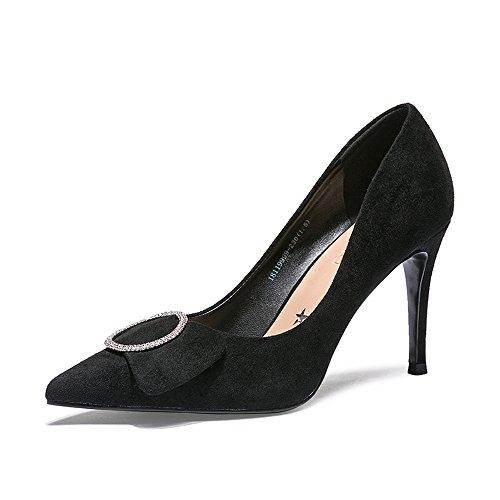 XZGC La Mode des Chaussures en Cuir Mat High-Heeled Rhinestone Chaussures Rétro