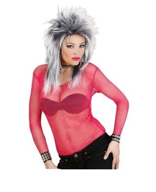 Netzshirt netzhemd sexy Damen Neon Pink M Langarm Netz Fishnet Shirt Gogo Dance