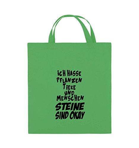 Comedy Bags - ICH HASSE PFLANZEN TIERE - Jutebeutel - kurze Henkel - 38x42cm - Farbe: Schwarz / Pink Grün / Schwarz