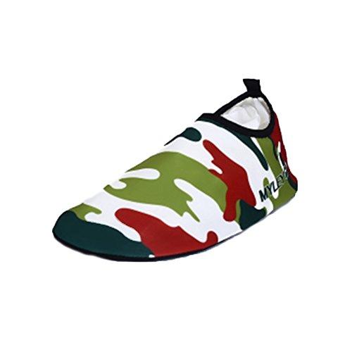 Moolecole Mode Extérieur Fitness Yoga Chaussures de Course Unisexe Barefoot Eau Sports Aqua Chaussures pour Beach Natation Surf Peau Aquatiques Chaussures Camouflage Vert