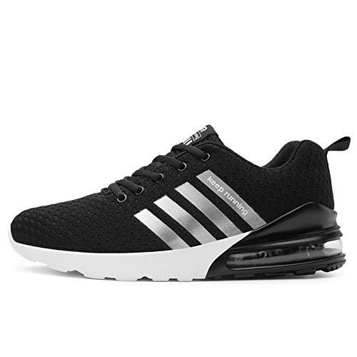 TORISKY Sportschuhe Herren Damen Laufschuhe Air Cushion Luftkissen Sneakers Turnschuhe Fitness Gym Leichtes Bequem Schuhe(A051-BK39)