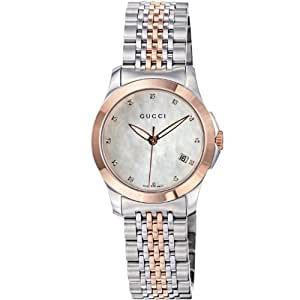GUCCI TIMELESS YA126514 LADIES STAINLESS STEEL CASE DATE MINERAL WATCH