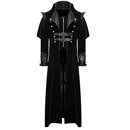 Heflashor Herren Frack Jacke Gothic Steampunk Uniform Kostüm Party Outwear Mantel Vampir Jacke Vintage Viktorianischen Langer Mantel Cosplay Smoking Jacke