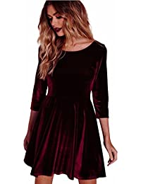Damen Kleider, GJKK Damen Kleid Rundhals Samtkleid Dreiviertel Ärmel Kleid  Frauen Langarm Casual Lose Minikleid Elegantes Abendkleid… 8c5548ca6b