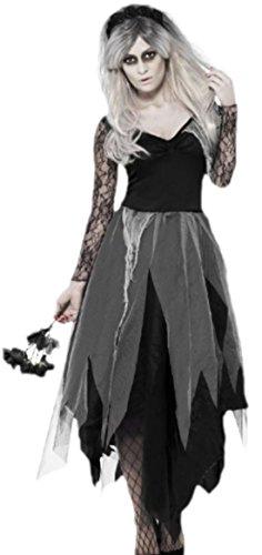 Halloweenia - Damen Geister Braut Kostüm Karneval Fasching, 38, Schwarz (Abraham The Walking Dead Kostüm)