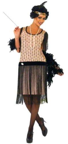 Faschingsfete - Damen 20's Charleston Kostüm Set- alle Teile, rosa schwarz, 40-42