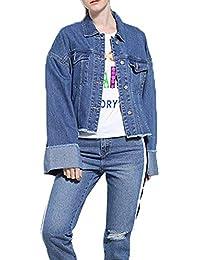 Chaqueta De Mezclilla De Gran TamañO para Mujer De Manga Larga Jeans De Uniforme De BéIsbol