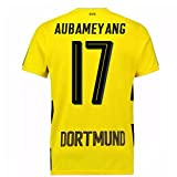 2017-18 Borussia Dortmund Home Short Sleeve Football Soccer T-Shirt Trikot (Kids) (Pierre-Emerick Aubameyang 17)