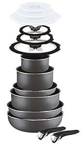 Lagostina Ingenio Essential Batteria di Pentole, Alluminio, Nero, Pezzi, 14 Unità