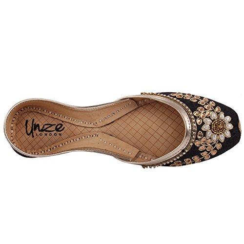 Unze Nuove donne 'Charoite' tradizionale Handmade abbellito in pelle piana Khussa pantofole pattini Scarpe 3-8 Nero