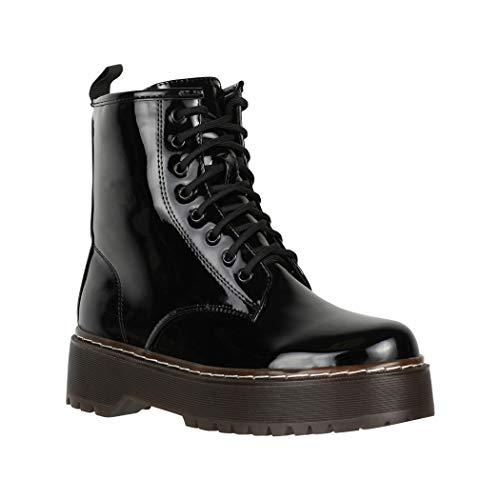 Elara Damen Stiefelette Worker Boots Chunkyrayan HL01 Black-38
