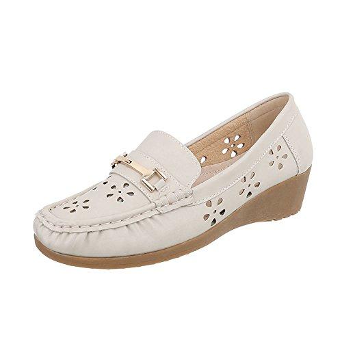 Ital-design Femmes Chaussures Mocassins Mocassins Beige Plat D1608-5