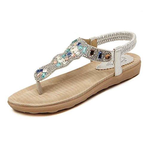 Dorame Sandali da Donna, Scarpe Estive Strass Sandali Donna Bassi Casual Perlina Stile Bohemian Mare Vacanza Sandali a Spina di Pesce della Boemia Argento