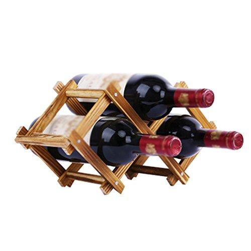 Zhiyuanan Robuste Durable Umweltfreundliche Kiefernweinregale Kreativer Faltender Weinregal Kleine Und Einfache Mode Weinständer Braun 40*13*20.5
