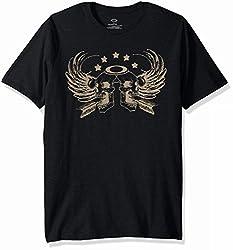 Oakley Mens Skull Wings Tee, Blackout, M