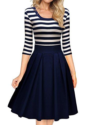 Miusol Damen Vintage 1950er Streifen Rund Ausschnitt 3/4 Arm Retro Schwingen Pinup Rockabilly Kleid Navy Blau Gr.M - 2