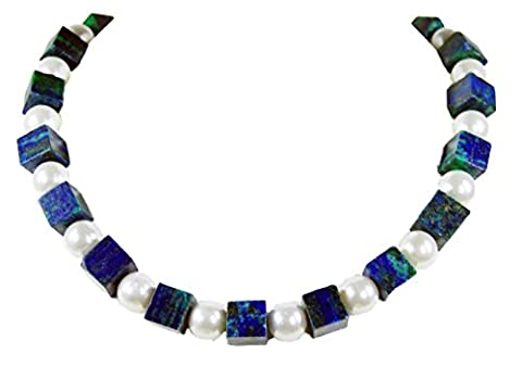 Beautiful Necklace made of Azurite – Malachite Gemstone Cube with Pearls
