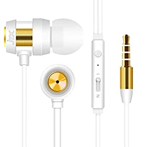 Earbuds with Microphone,Tangle Free Flat Cord in Ear Headphones with Mic Wired Earphones for iPhone, iPad, iPod, Samsung Galaxy,Tablets,Computers, Android Smartphones(White)