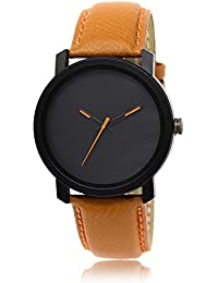 Style Keepers Amazing Stylish Sport Look Orange Thorns Black Dial Stylish Brown Leather Strap Analog Watch For...