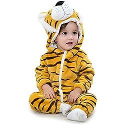 Adorel Combinaisons à Capuche Grenouillères Animal Bébé Tigre 0-5 Mois (Taille 70)