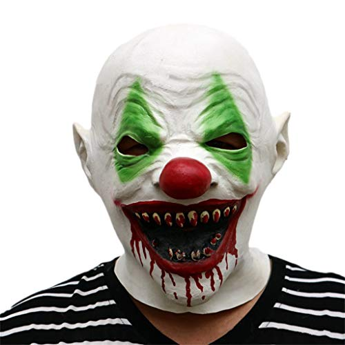 GXDHOME Halloween Latex Gesicht Kopf Maske, Clown Kostüm Scary Horror Gruselig Lustige Erwachsene Kinder Party Cosplay Karneval Kostüm (Scary Halloween-gesichter Clown)